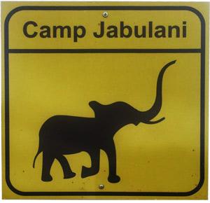 camp jabulani location roadsign
