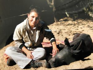 Chantel and rescued rhino, Douwlina, at HESC