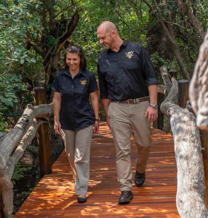 Stefan and Chantel on duty at Camp Jabulani