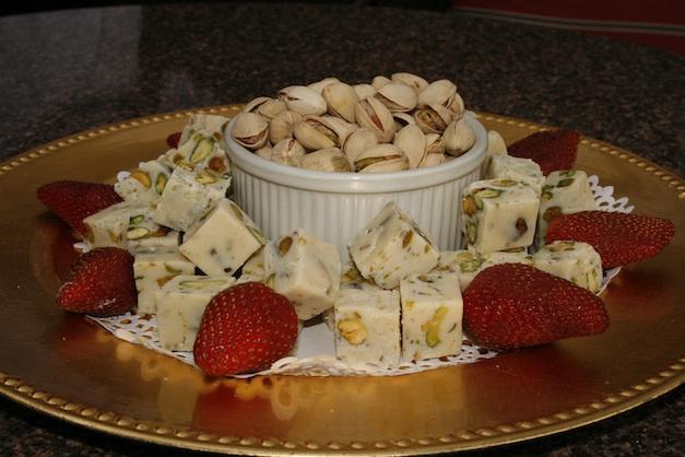 White chocolate pistachio nut fudge