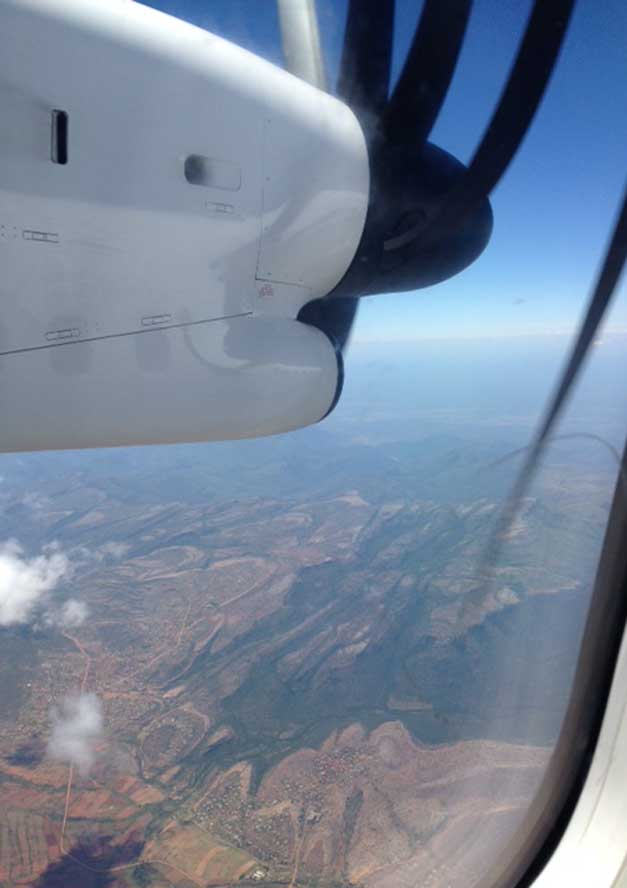 The beautiful views from the air just after crossing the Drakensig Mountains